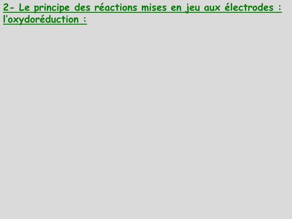 2- Le principe des réactions mises en jeu aux électrodes : l'oxydoréduction :