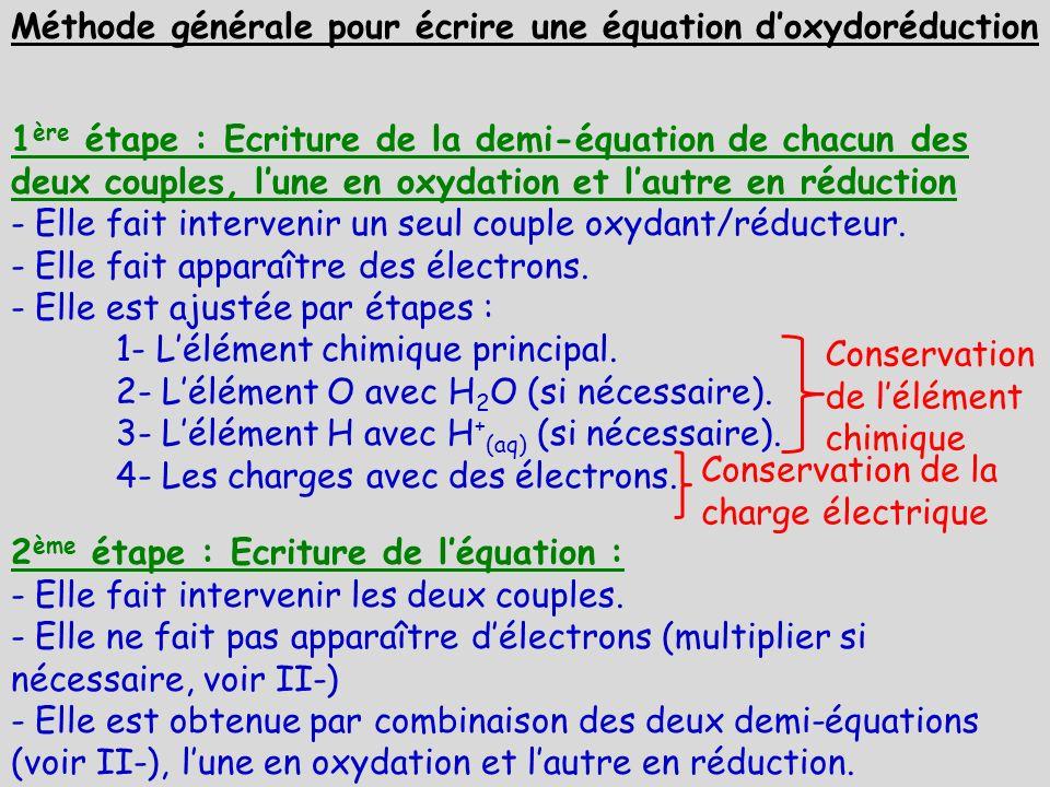Méthode générale pour écrire une équation d'oxydoréduction