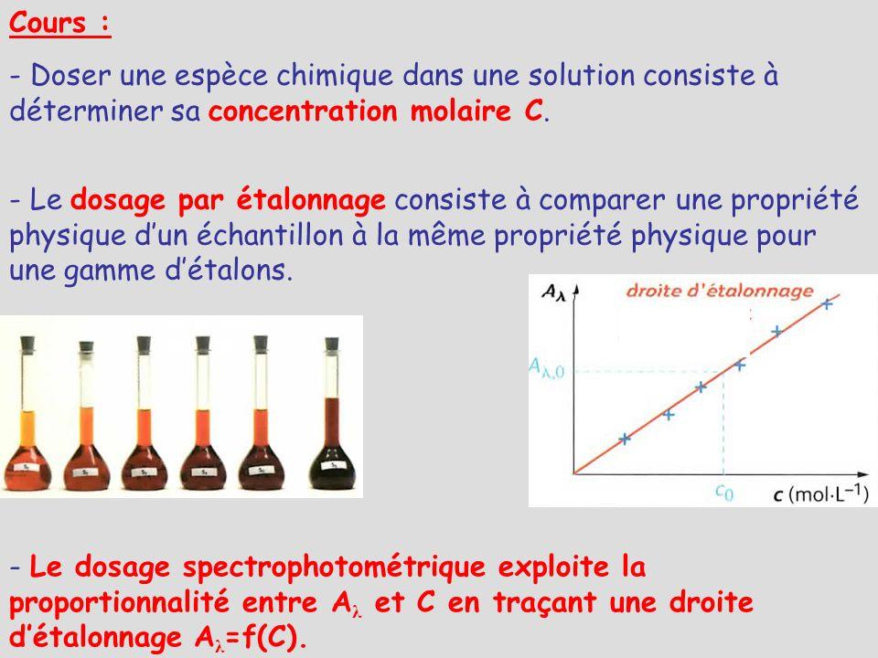 Cours : - Doser une espèce chimique dans une solution consiste à déterminer sa concentration molaire C.