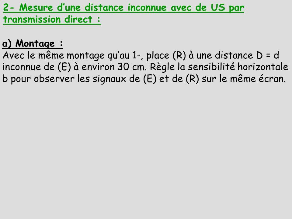 2- Mesure d'une distance inconnue avec de US par transmission direct :