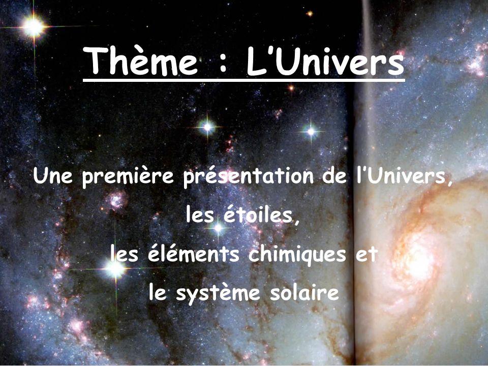 Une première présentation de l'Univers, les éléments chimiques et