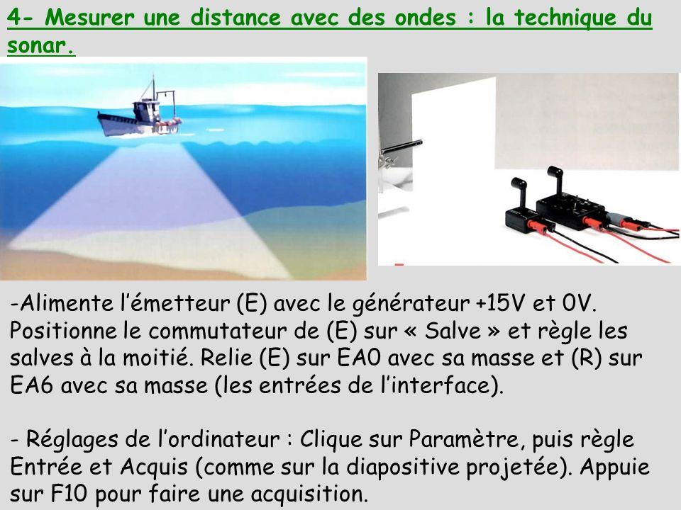 4- Mesurer une distance avec des ondes : la technique du sonar.