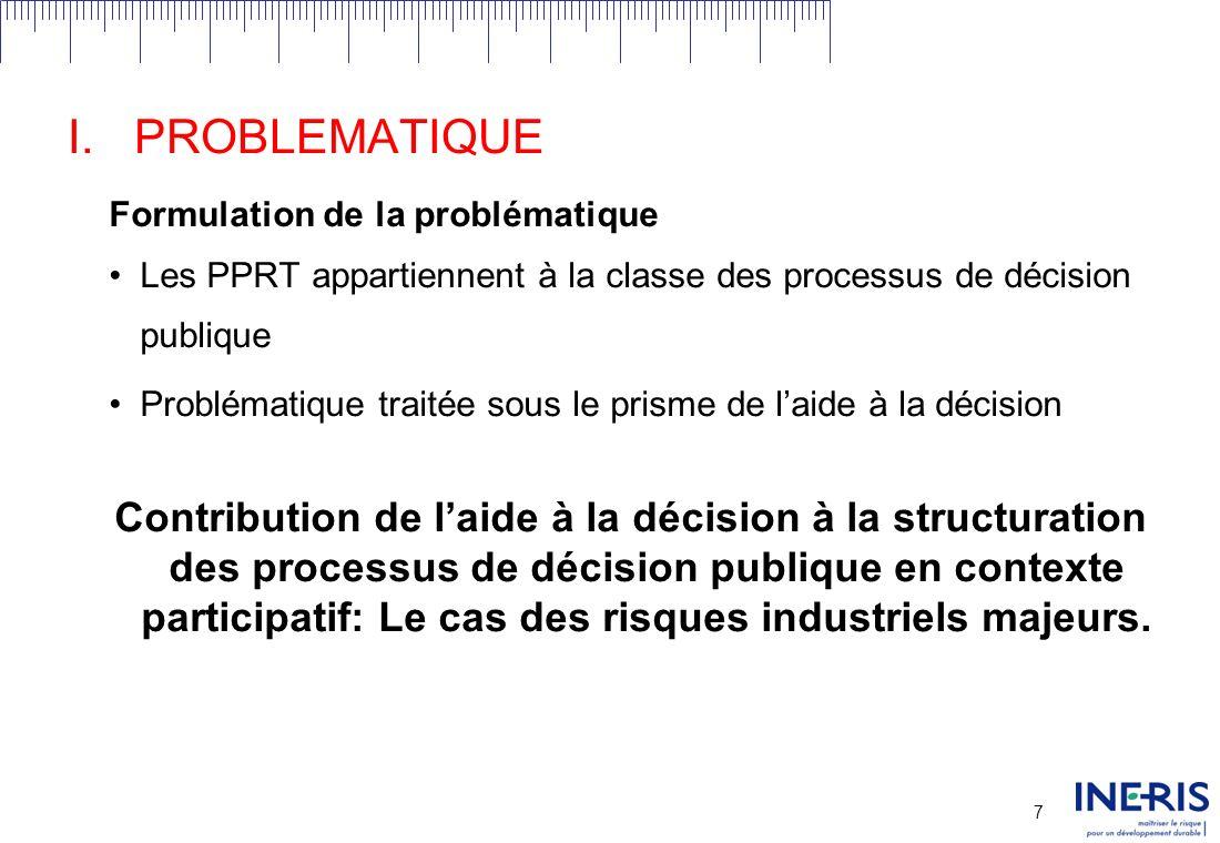 PROBLEMATIQUE Formulation de la problématique. Les PPRT appartiennent à la classe des processus de décision publique.