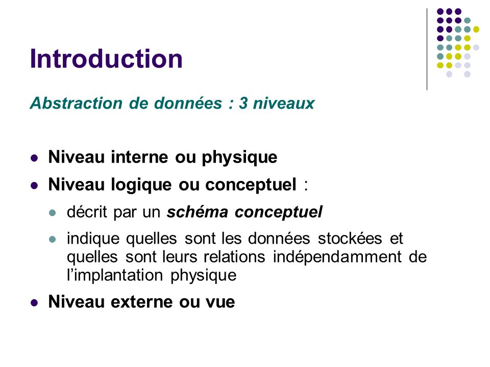 Introduction Niveau interne ou physique Niveau logique ou conceptuel :