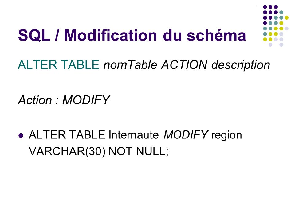 SQL / Modification du schéma