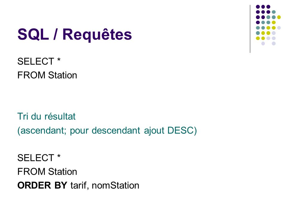 SQL / Requêtes SELECT * FROM Station Tri du résultat