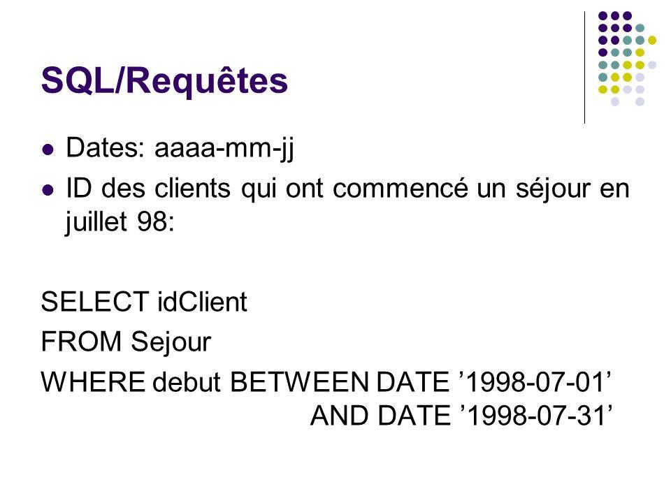 SQL/Requêtes Dates: aaaa-mm-jj