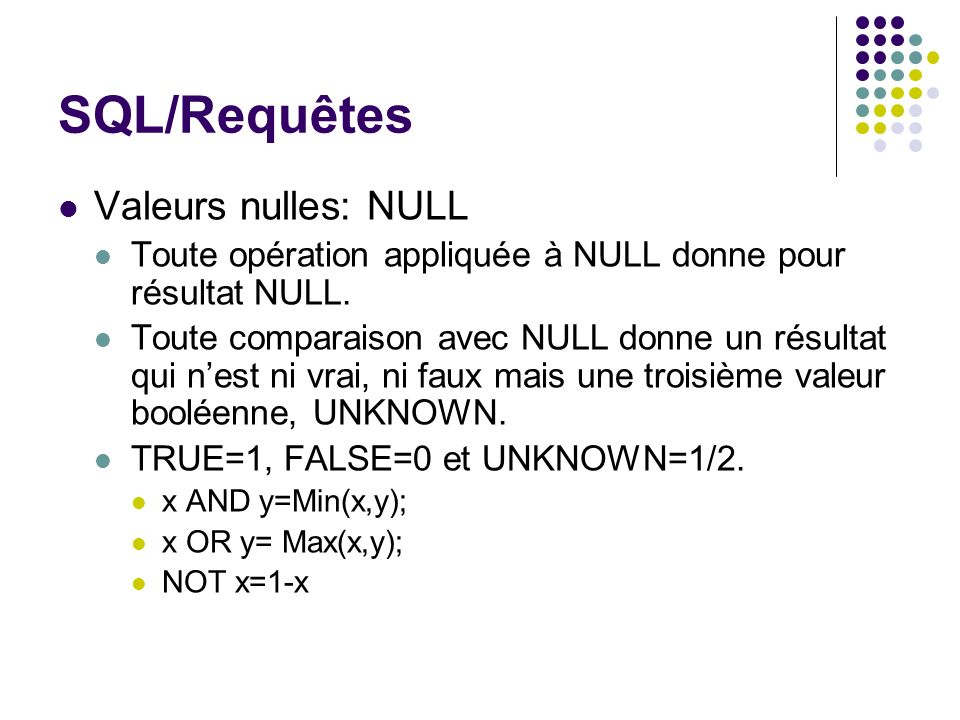 SQL/Requêtes Valeurs nulles: NULL