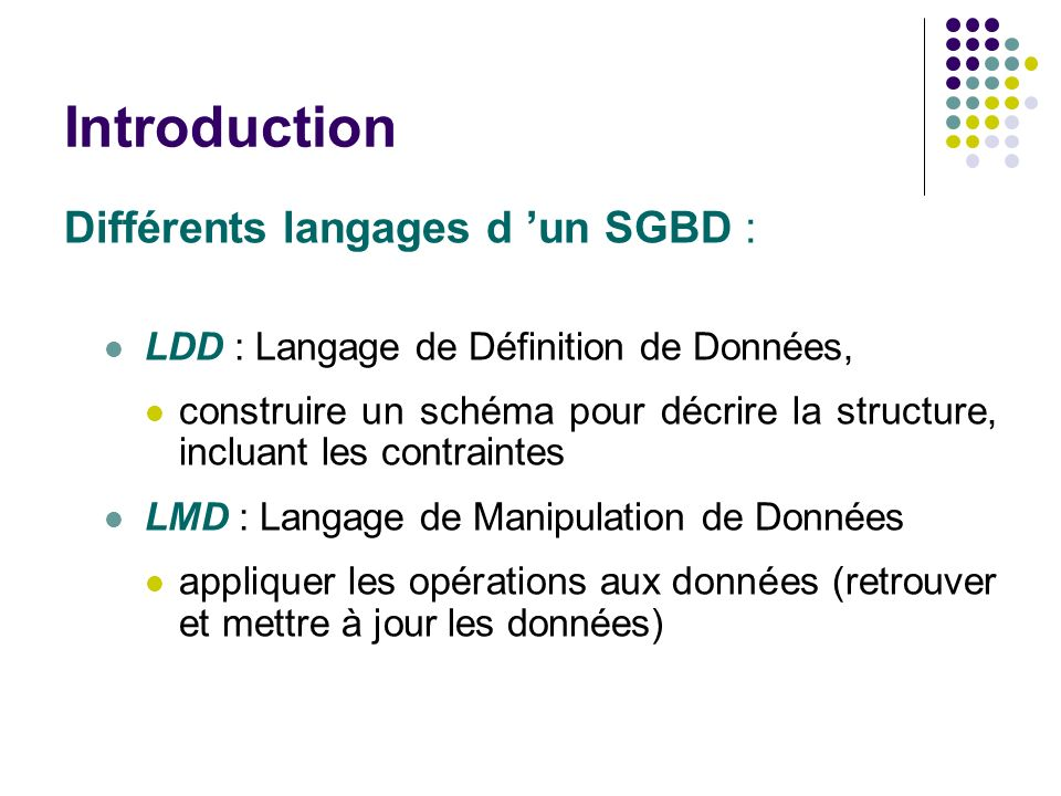 Introduction Différents langages d 'un SGBD :
