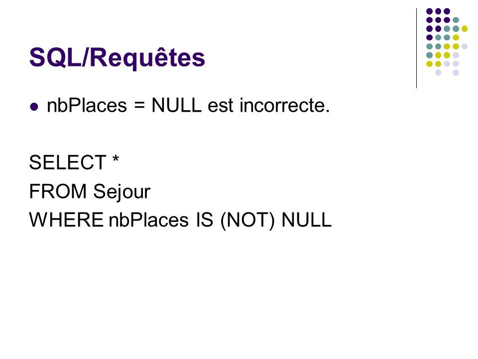 SQL/Requêtes nbPlaces = NULL est incorrecte. SELECT * FROM Sejour