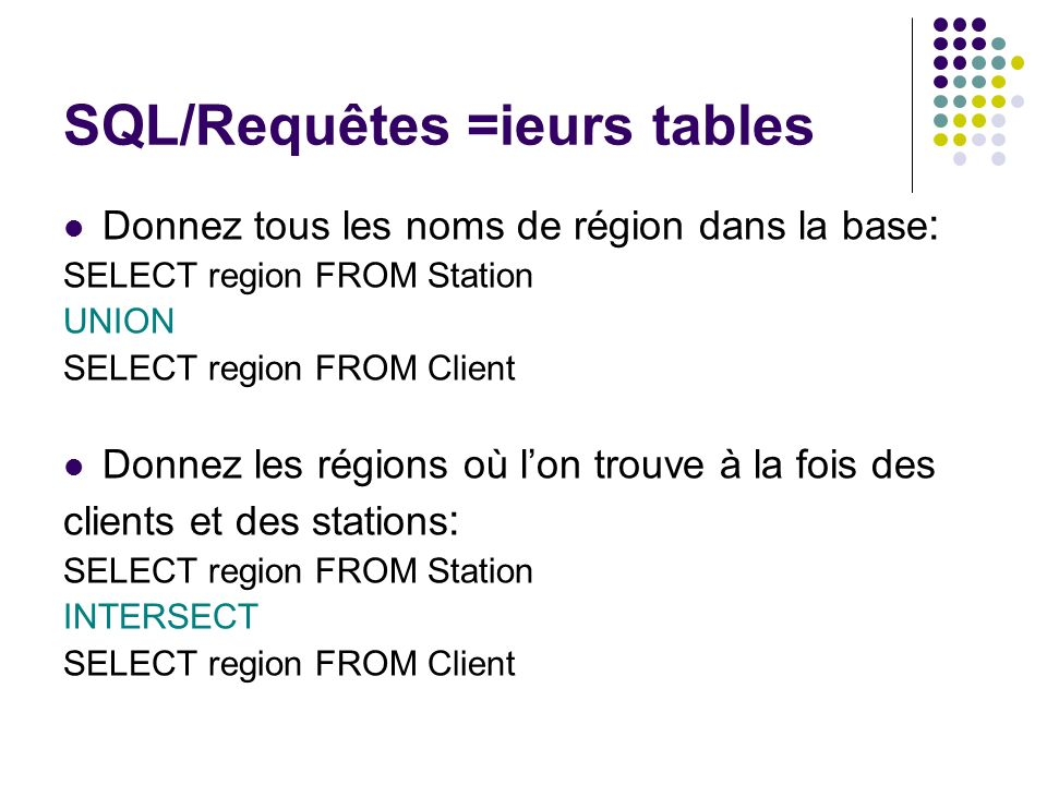 SQL/Requêtes =ieurs tables