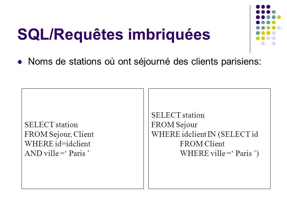 SQL/Requêtes imbriquées