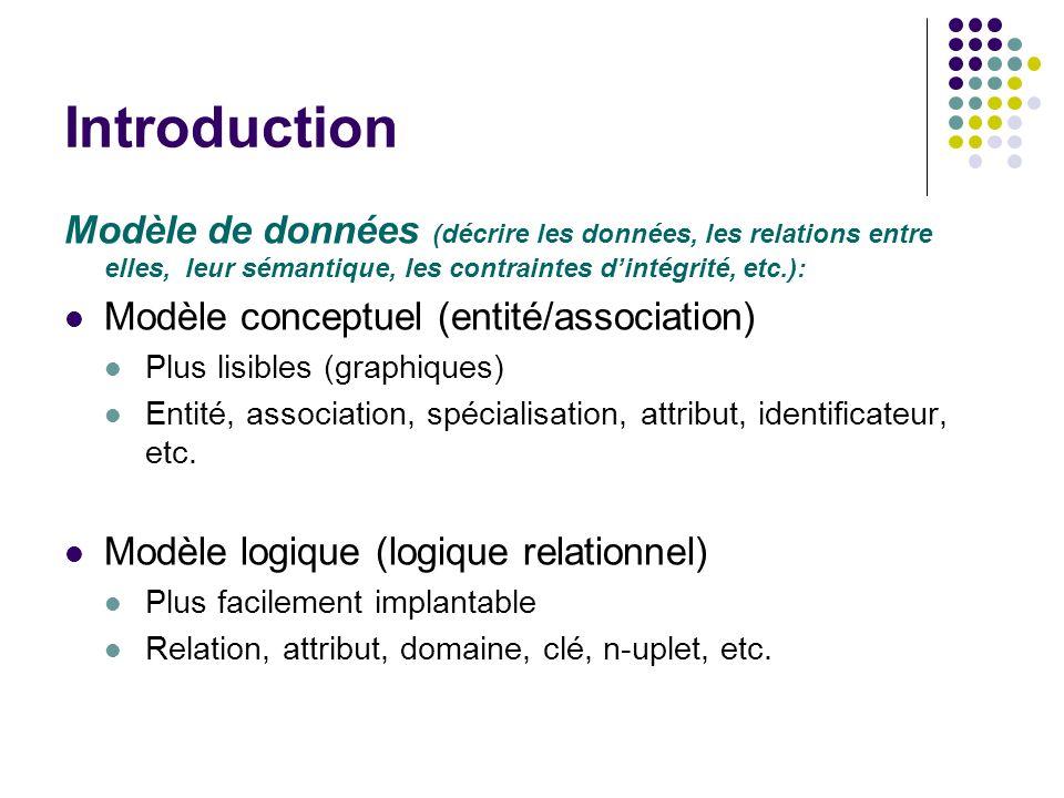 Introduction Modèle de données (décrire les données, les relations entre elles, leur sémantique, les contraintes d'intégrité, etc.):