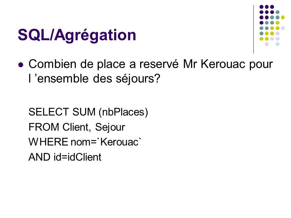 SQL/Agrégation Combien de place a reservé Mr Kerouac pour l 'ensemble des séjours SELECT SUM (nbPlaces)