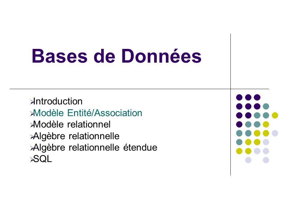Bases de Données Introduction Modèle Entité/Association