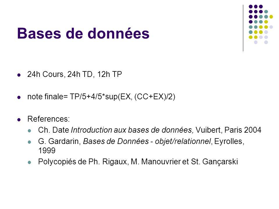 Bases de données 24h Cours, 24h TD, 12h TP