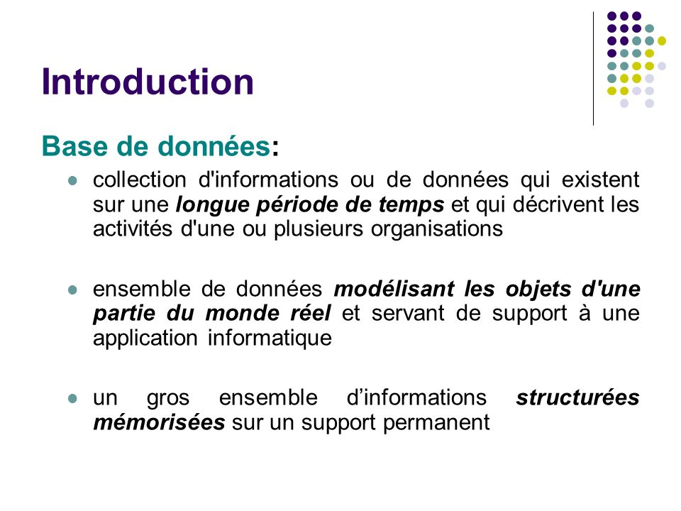Introduction Base de données: