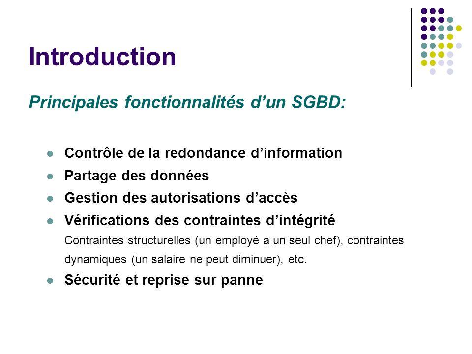 Introduction Principales fonctionnalités d'un SGBD: