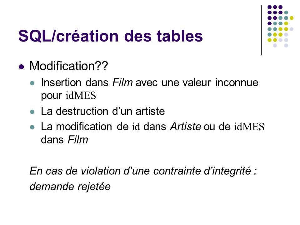 SQL/création des tables