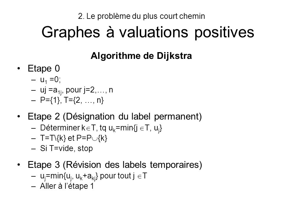 Le problème du plus court chemin Graphes à valuations positives