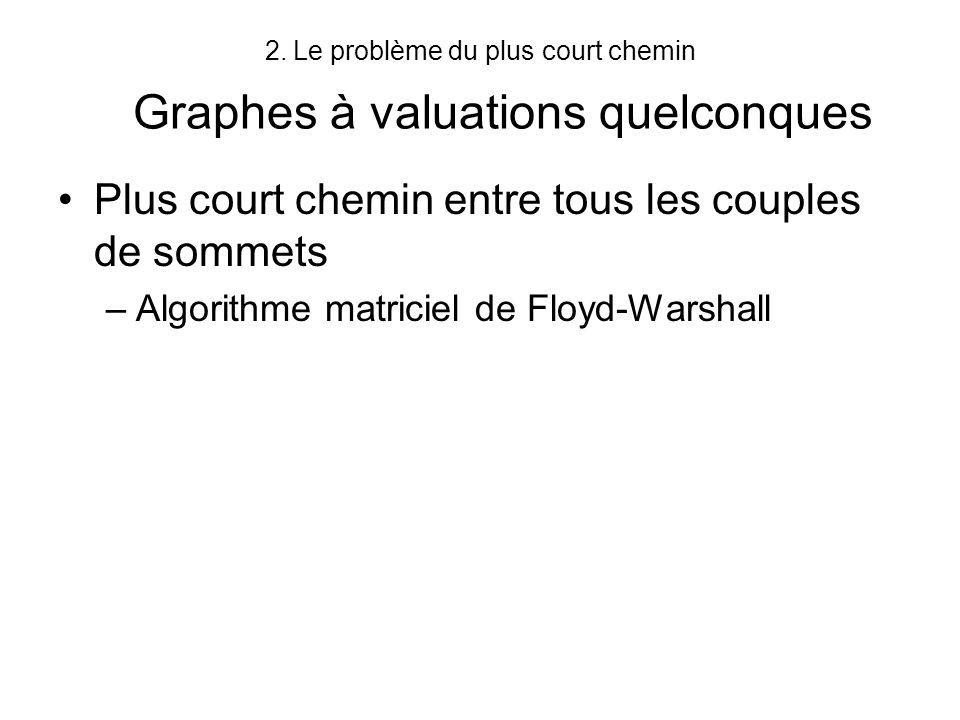 Le problème du plus court chemin Graphes à valuations quelconques