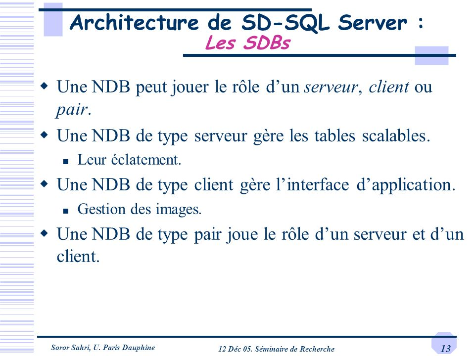 Architecture de SD-SQL Server : Les SDBs