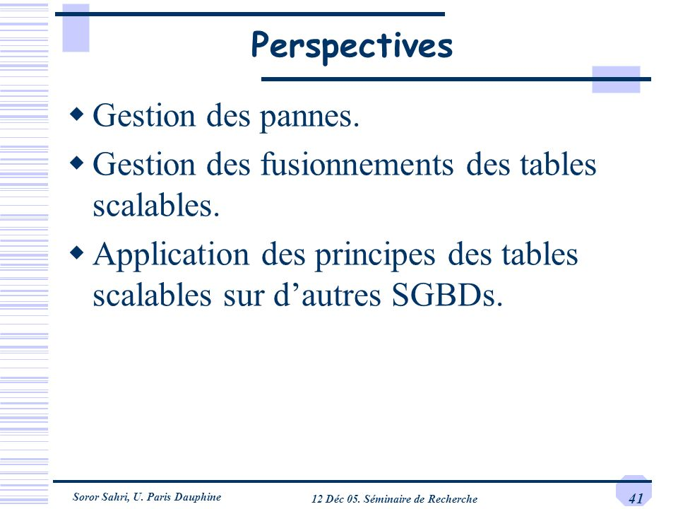 Soror Sahri, U. Paris Dauphine 12 Déc 05. Séminaire de Recherche