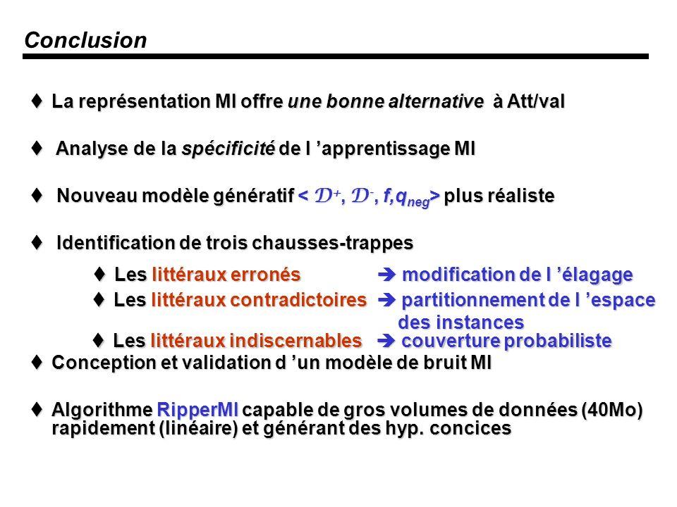 Conclusion La représentation MI offre une bonne alternative à Att/val
