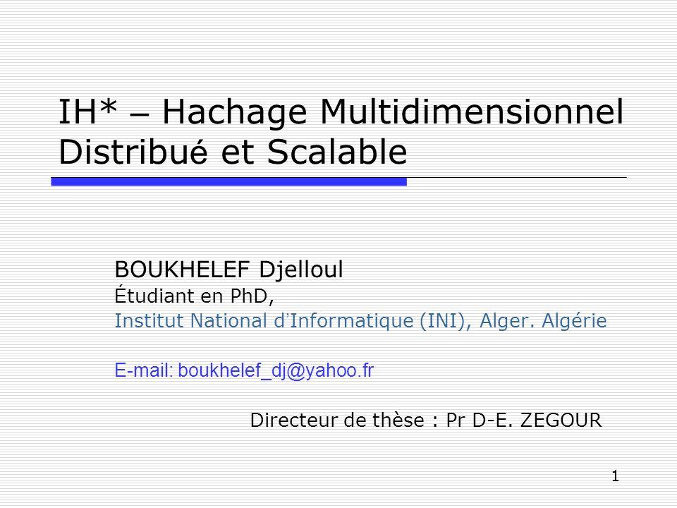 IH* – Hachage Multidimensionnel Distribué et Scalable