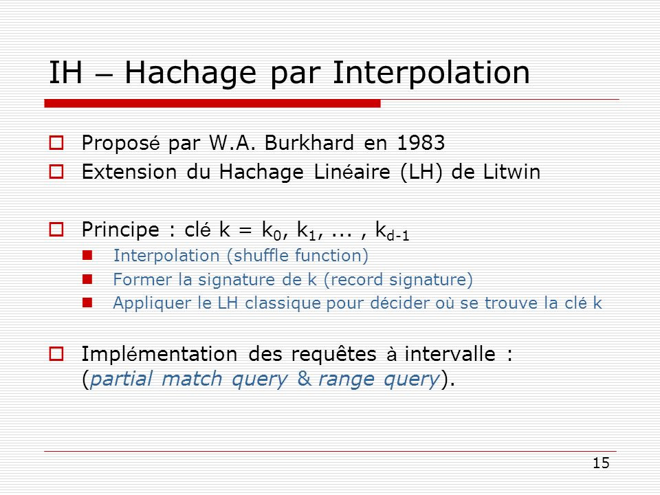 IH – Hachage par Interpolation