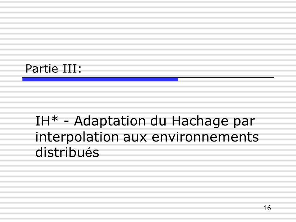 Partie III: IH* - Adaptation du Hachage par interpolation aux environnements distribués
