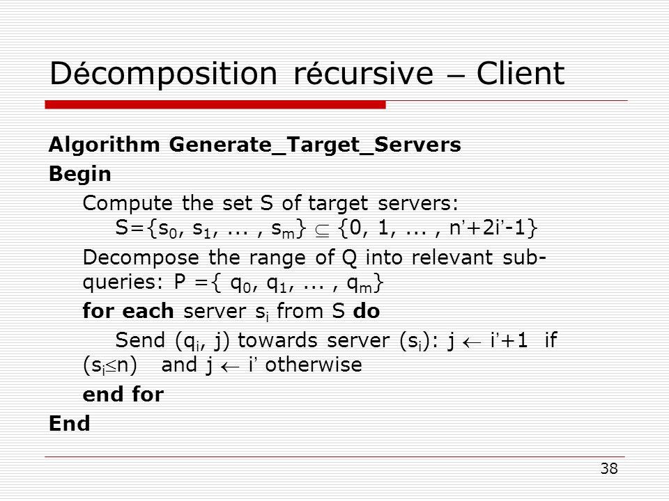 Décomposition récursive – Client