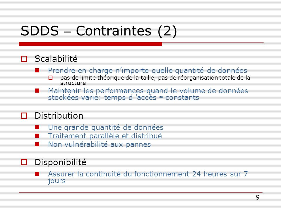 SDDS – Contraintes (2) Scalabilité Distribution Disponibilité