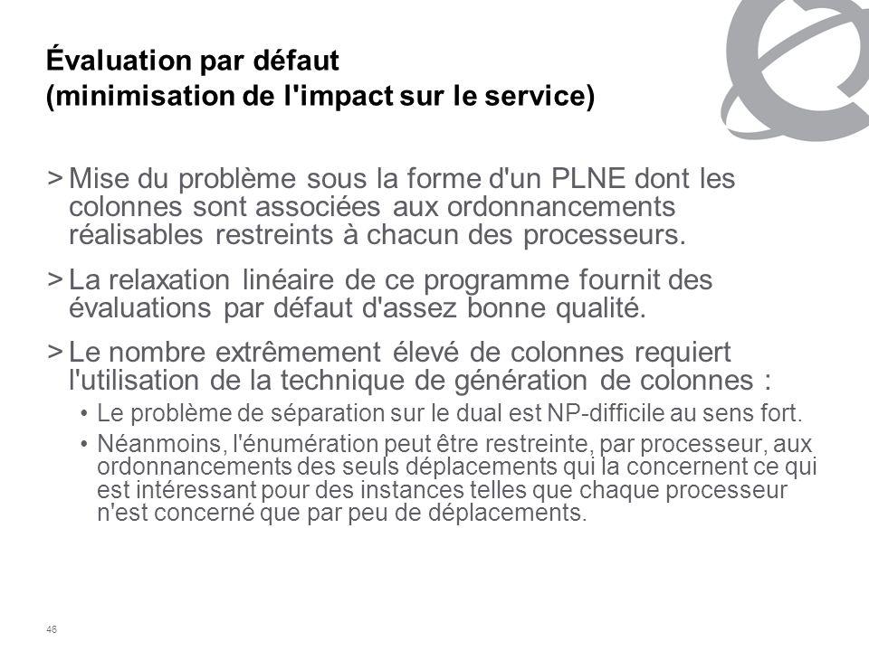 Évaluation par défaut (minimisation de l impact sur le service)