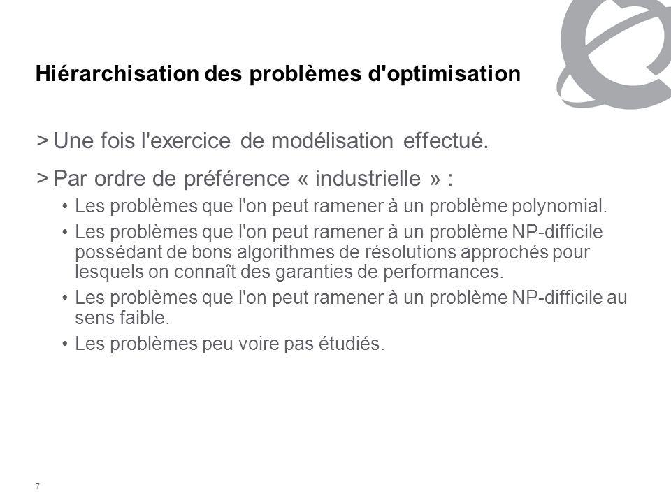 Hiérarchisation des problèmes d optimisation