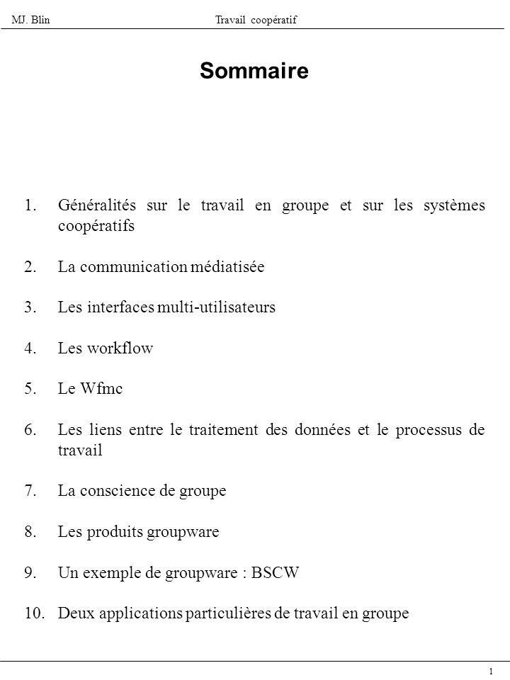 SommaireGénéralités sur le travail en groupe et sur les systèmes coopératifs. La communication médiatisée.