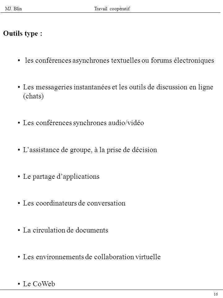 Outils type : les conférences asynchrones textuelles ou forums électroniques.