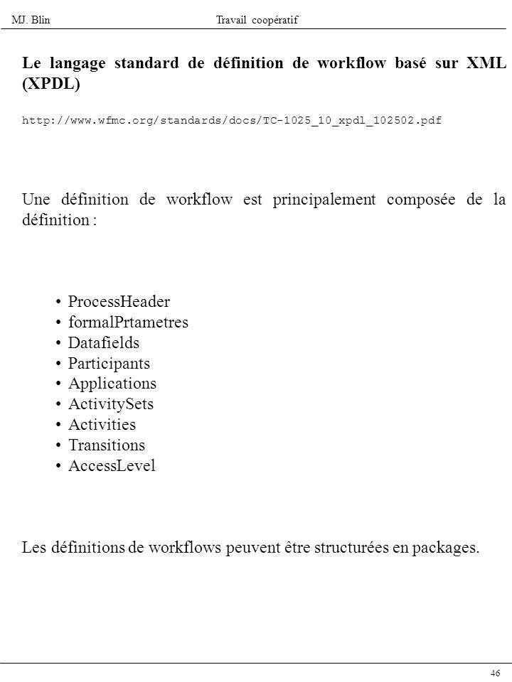 Le langage standard de définition de workflow basé sur XML (XPDL)