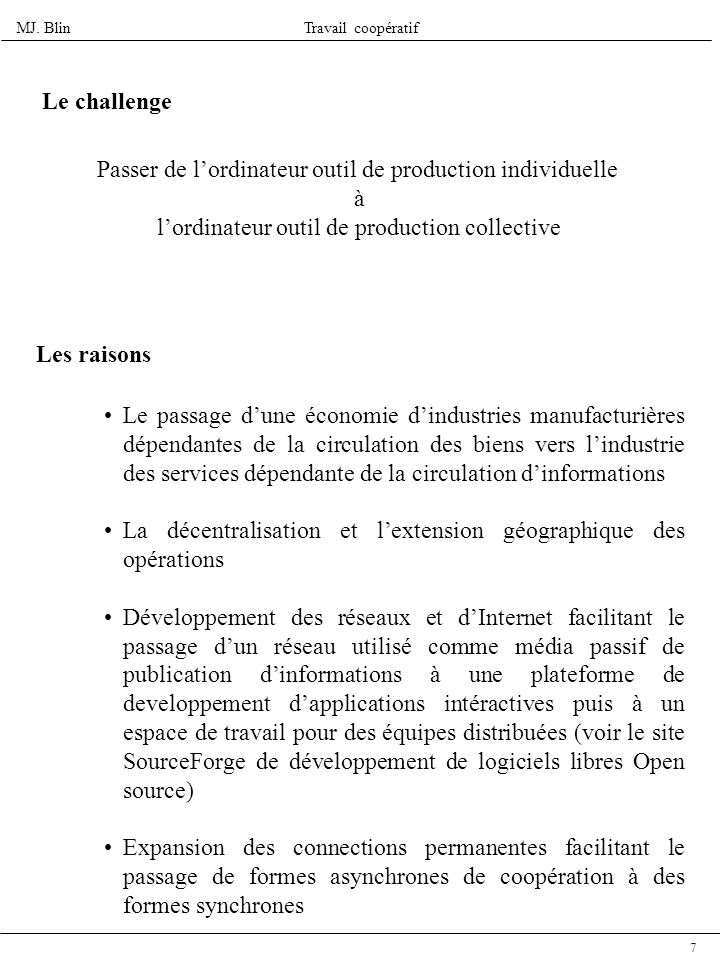 Passer de l'ordinateur outil de production individuelle à