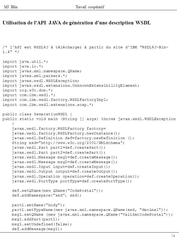 Utilisation de l API JAVA de génération d une description WSDL