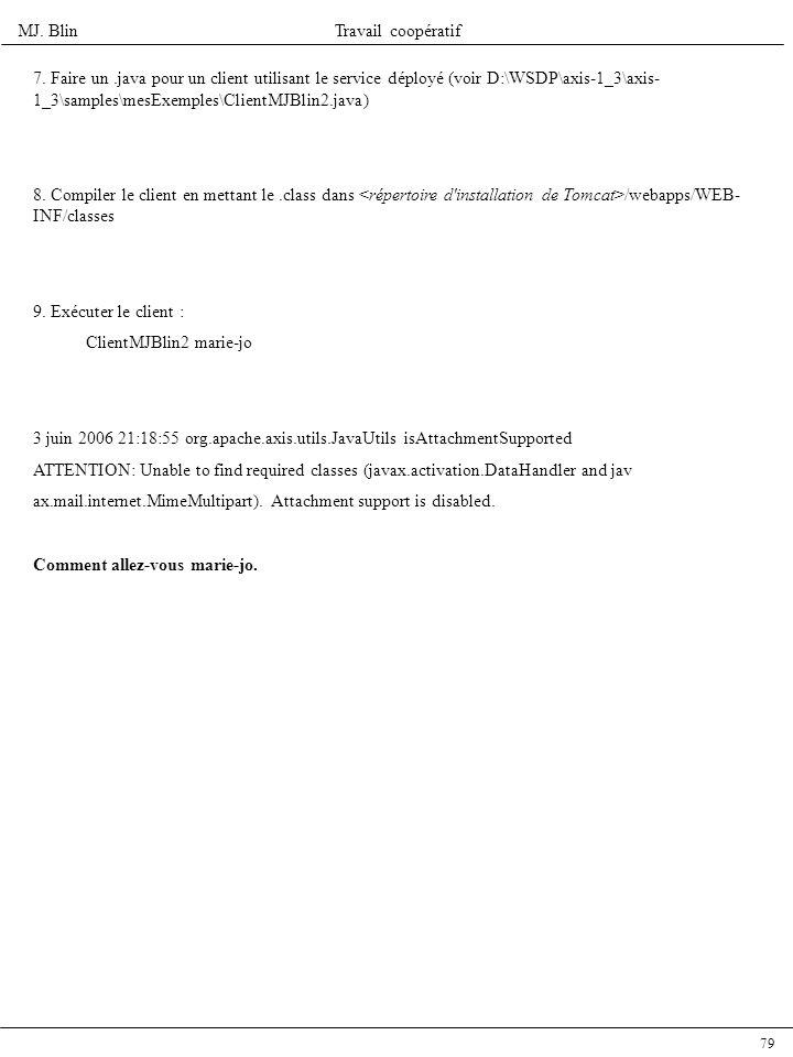 7. Faire un .java pour un client utilisant le service déployé (voir D:\WSDP\axis-1_3\axis-1_3\samples\mesExemples\ClientMJBlin2.java)