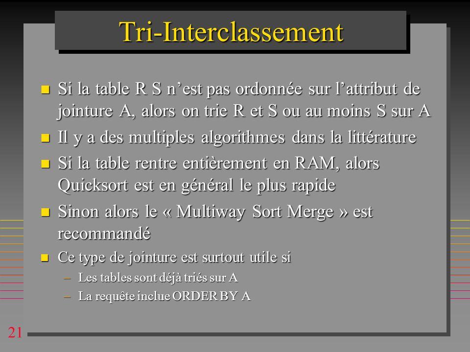 Tri-Interclassement Si la table R S n'est pas ordonnée sur l'attribut de jointure A, alors on trie R et S ou au moins S sur A.