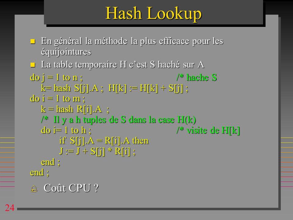 Hash Lookup En général la méthode la plus efficace pour les équijointures. La table temporaire H c'est S haché sur A.