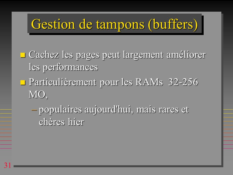 Gestion de tampons (buffers)