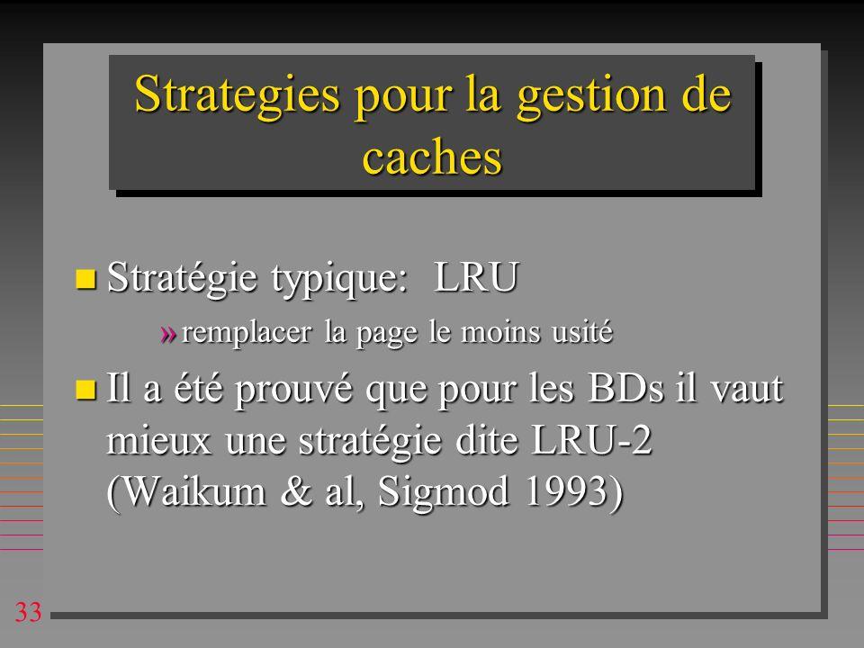 Strategies pour la gestion de caches