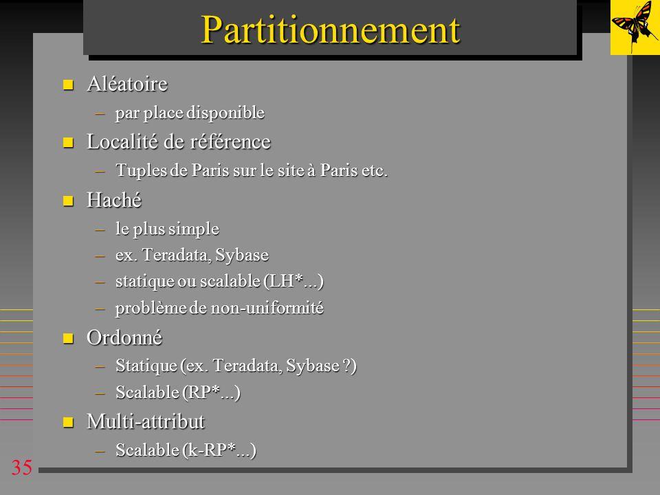 Partitionnement Aléatoire Localité de référence Haché Ordonné