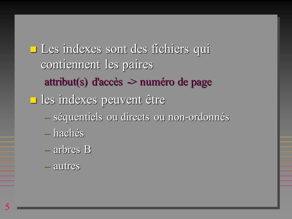 Les indexes sont des fichiers qui contiennent les paires
