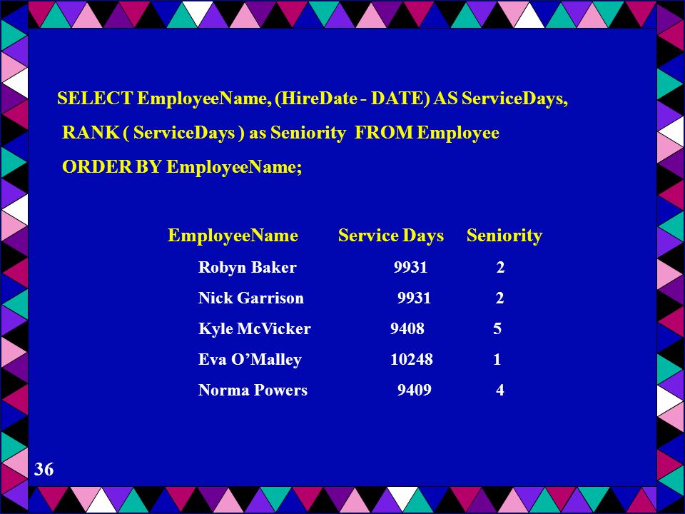 SELECT EmployeeName, (HireDate - DATE) AS ServiceDays,