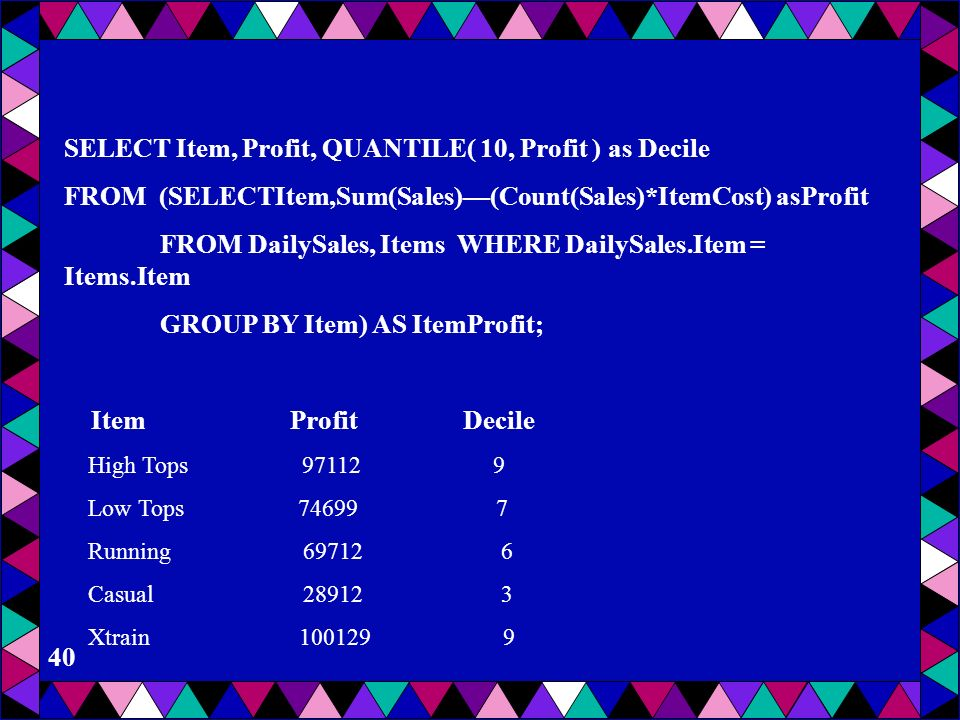SELECT Item, Profit, QUANTILE( 10, Profit ) as Decile