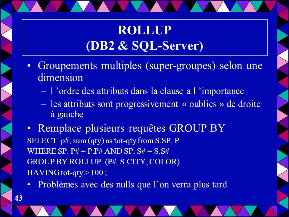 ROLLUP (DB2 & SQL-Server)